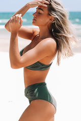 Army Green Cross Front Bikini Set