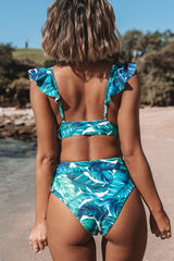 Leaf Print Ruffle V Neck Bikini Set