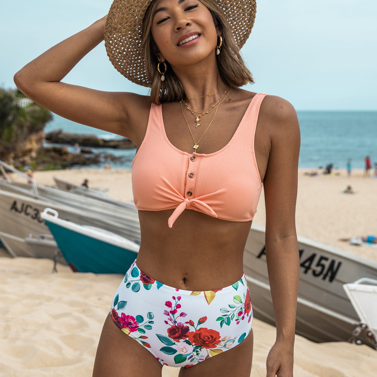 Button Design High Waist Flower Print Bikini Set