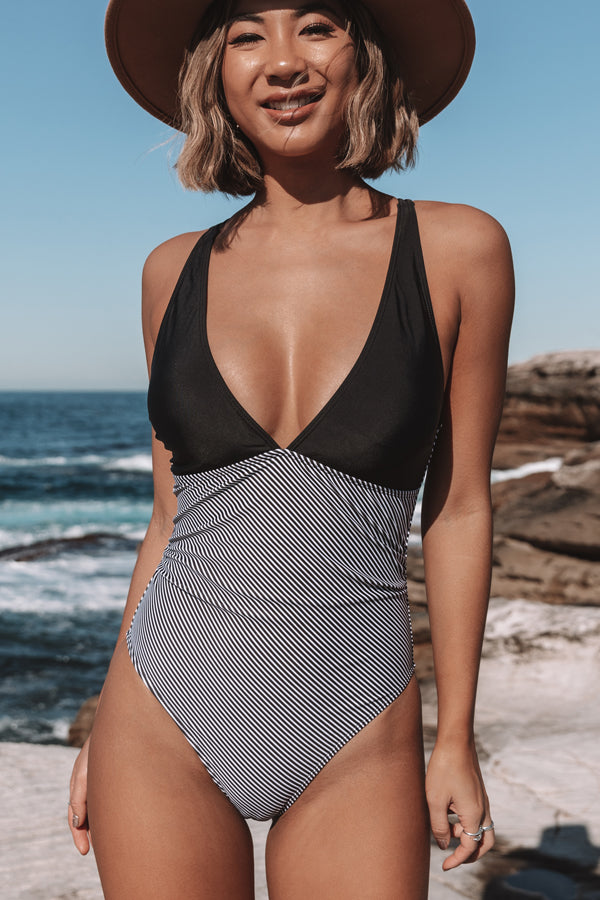 Deep V Neck Patchwork Double Straps One Piece Swimwear