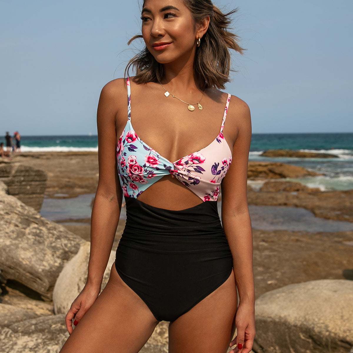 Twist Design Flower Print Block Sexy One Piece Swimwear