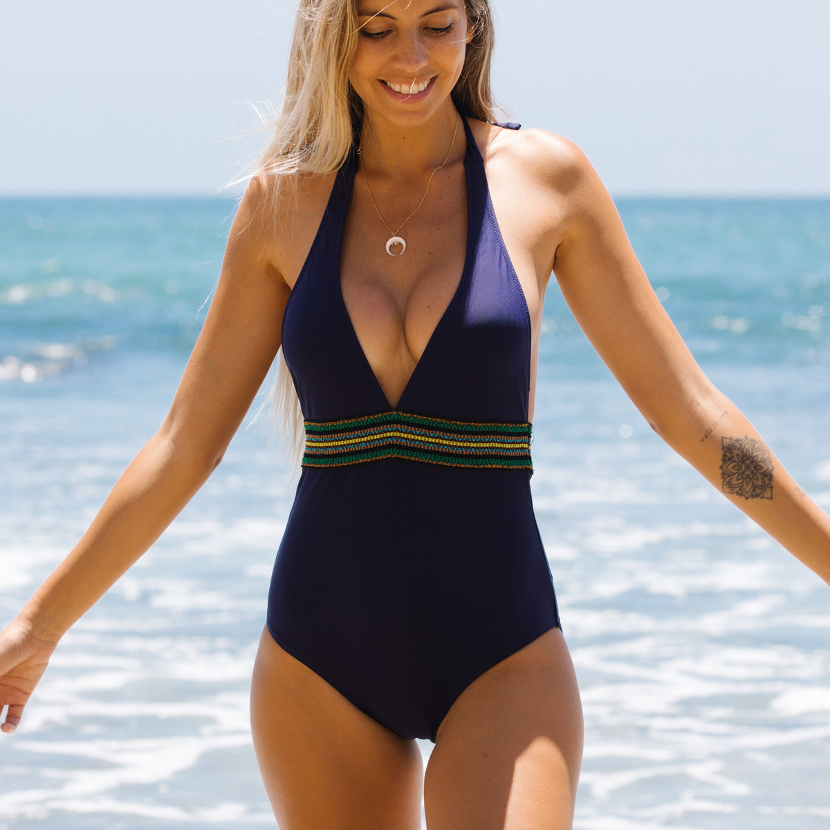 Deep V Neck Patchwork One Piece Swimsuit