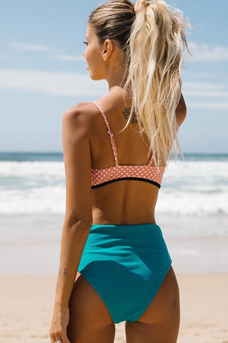 Polka dot Tie Front High Waist Bikini Set