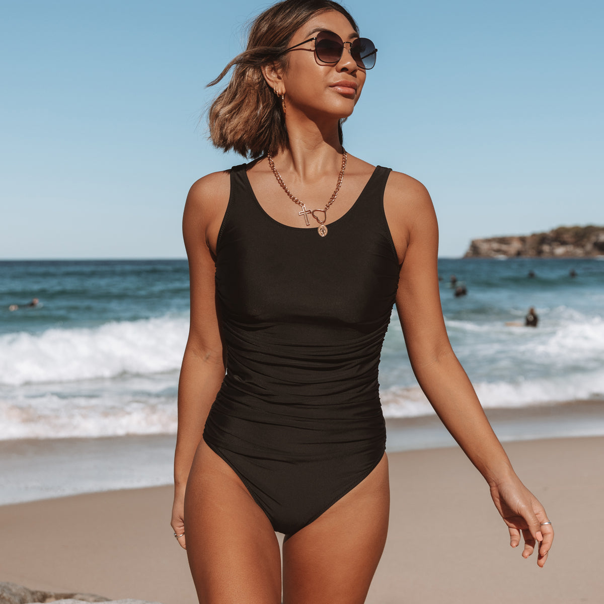 Ruched Design Solid Black One Piece Swimsuit