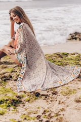 Three Quarter Sleeve Printed Beach Cover Up