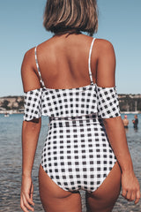 Plaid Print Ruffle Shoulder One Piece Swimwear