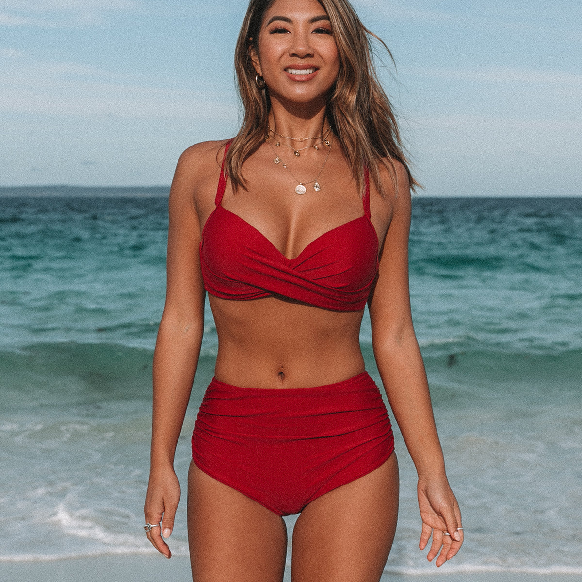 Ruched Design Criss Cross Front Bikini Set
