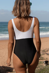 Criss Cross Front Color Block One Piece Swimwear