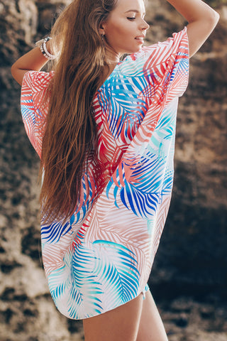 V Neck Printed Beach Cover Up