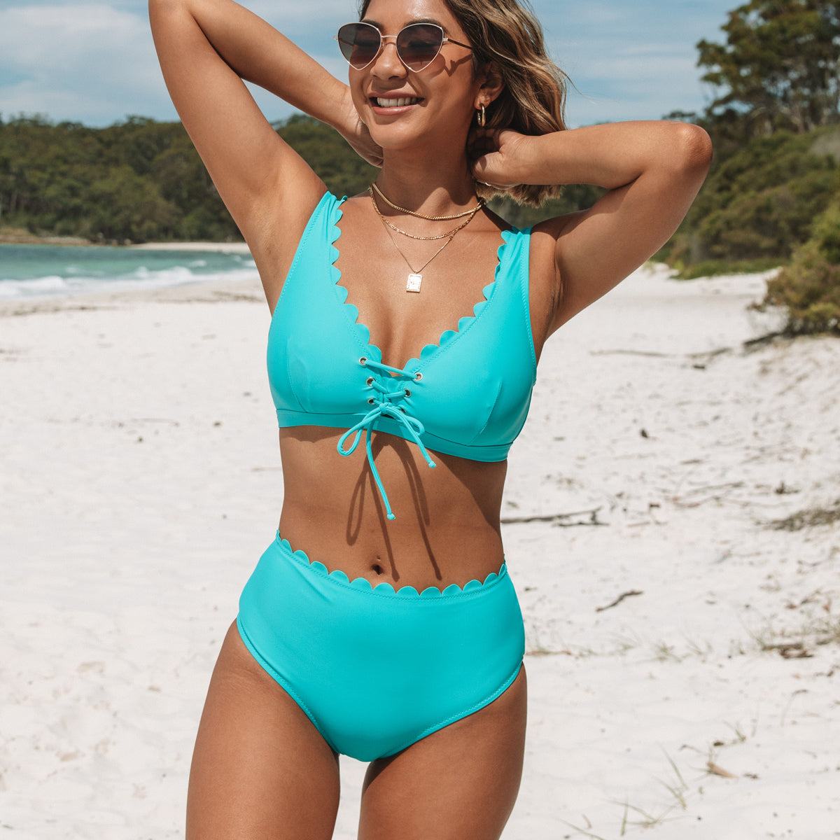 Scolloped Hem Solid Color Bikini Set