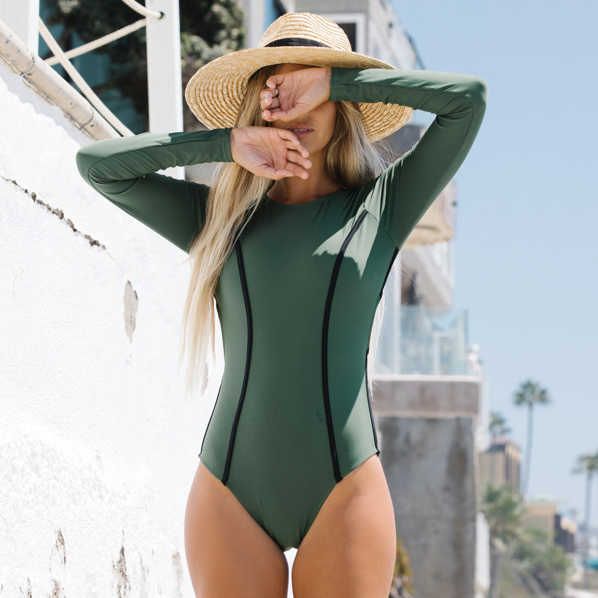 Oliva Green and Black Stripe Surfing Swimwear