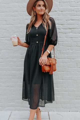 Solid Color V Neck Lantern Sleeve Dress