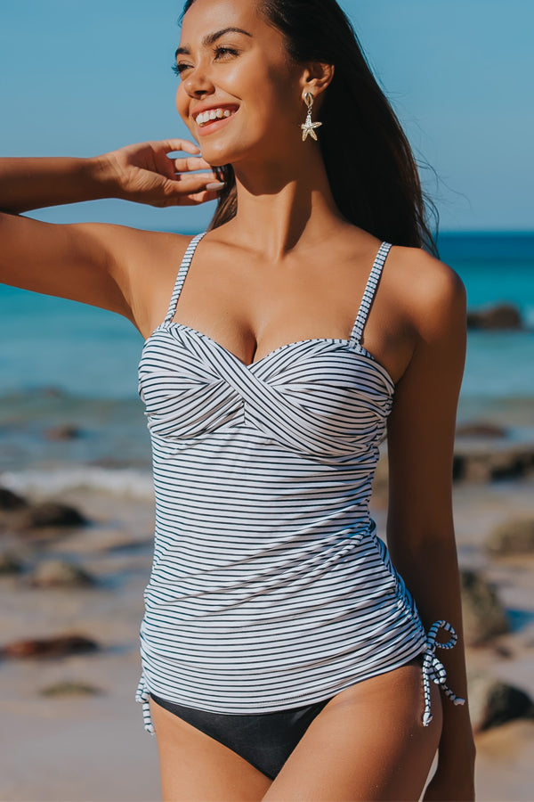Twist Front Drawstring Side Stripe Print Tankini Set
