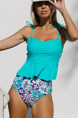 Flower Print Tie Shoulder High Waist Tankini Set