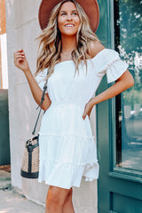 Solid Color Off The Shoulder Ruffle Design Dress