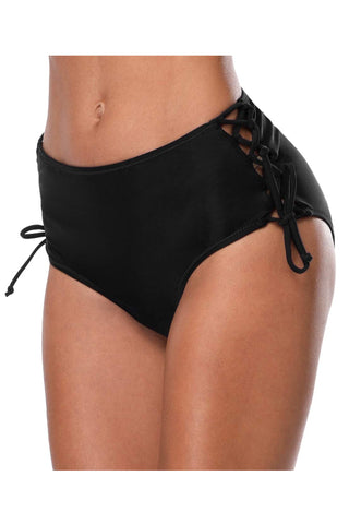 Solid Color Cross Straps Side Black Swim Panty