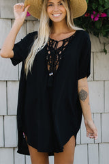 Solid Color V Neck Lace Swimwear Cover Up