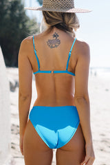 Solid Color Low Waist Bikini Set