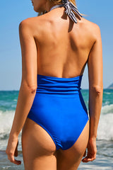 Halter Neck Vertical Stripe Halter One Piece Swimsuit