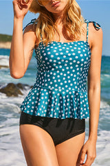 Flower Print Tie Shoulder Tankini Set