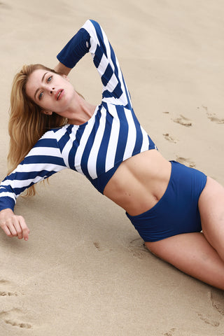 UPF 50+  Retro Stripe Surfing Swimwear