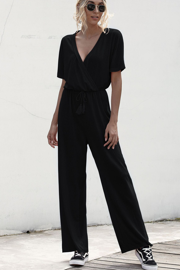 Drawstring Waist V Neck  Jumpsuit