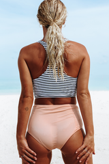 Stripe Print High Waist Bikini