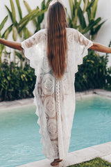 Pure Color Lace Panel V Neck Cover Up