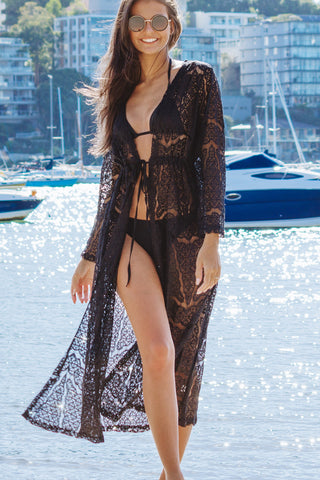 Long Sleeve Lace Swimsuit Cover Up