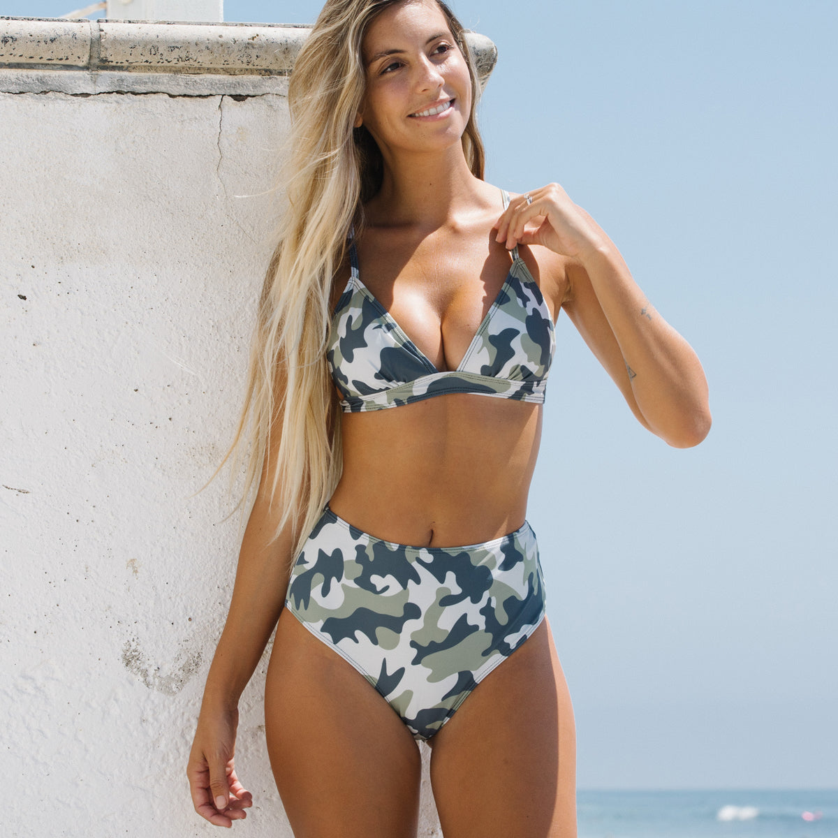 High Waisted Camouflage Print Bikini Set