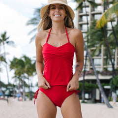 Drawstring Side Twist Front Solid Color Tankini Set