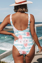 Floral and Stripe Print Knot Front One Piece Swimwear