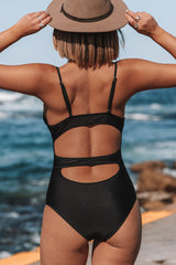 Solid Color V Neck Cutout One Piece Swimsuit