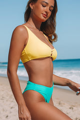 Color Block Back Cross Bikini Set