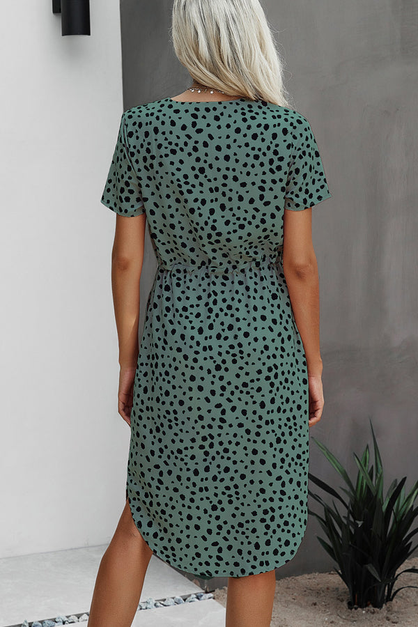 Fashion Print Short Sleeve Tie Waist Casual Dress