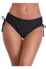 Solid Color Drawstring Side Black Swim Panty