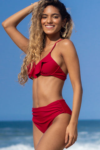 Solid Color High Waist Bikini Set