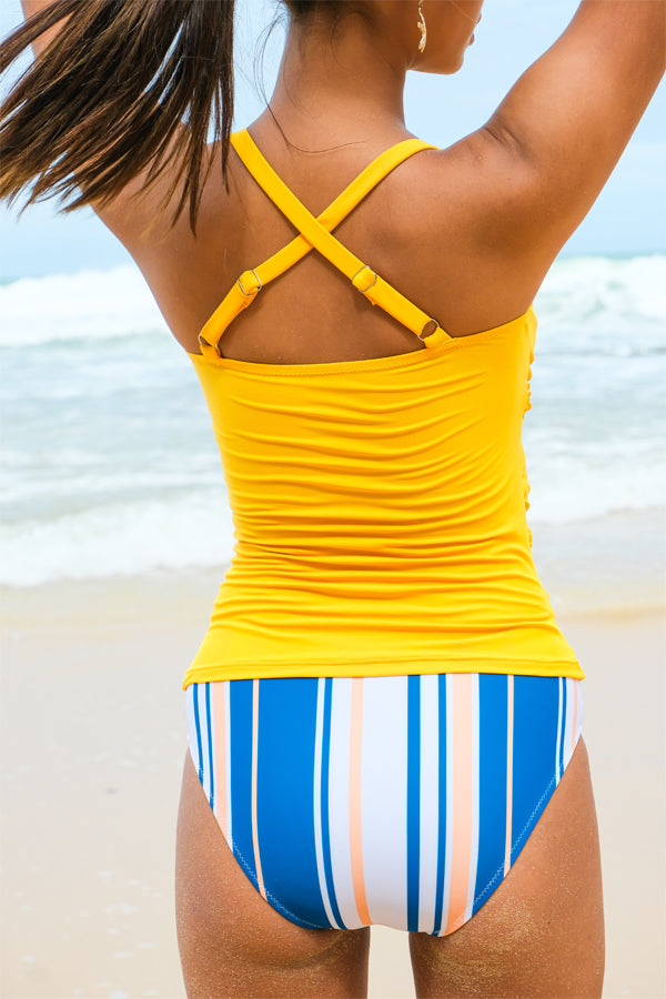 Stripe Print Criss Cross Tankini Set