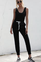 Draswstring Waist Scoop Neck Tank Jumpsuit