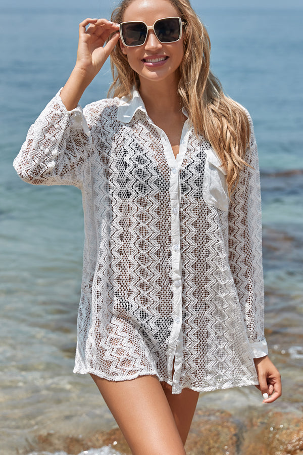 Lace Panel Solid Color Long Sleeve Cover Up