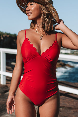 Scolloped Hem Back Cross Ruched One Piece Swimsuit