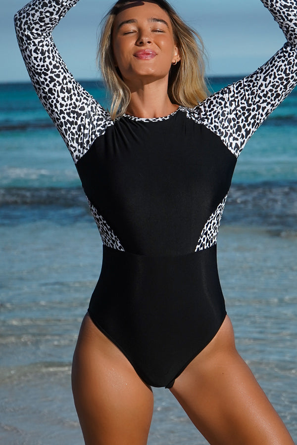 Leopard Print Patchwork Zipper Up Swimwear Surfing