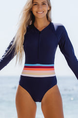 Rainbow Stripe Zipper Up Surfing Swimwear