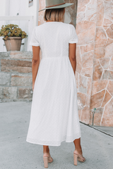 V Neck Button Up White Cotton Dress