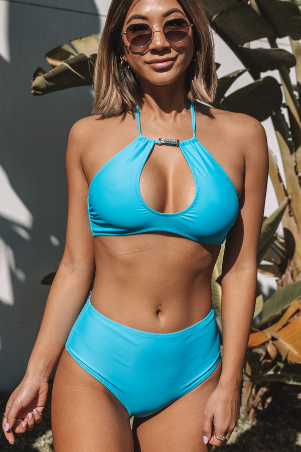 Halter Neck Knot Solid Blue High Waisted Bikini Set