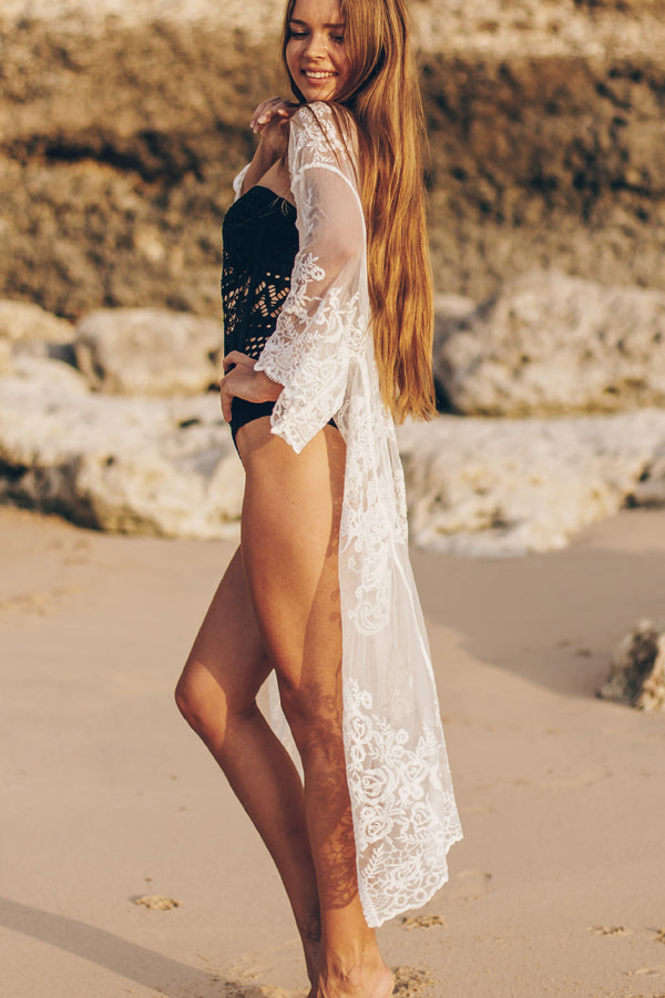 Flower Print Lace Beach Cover Up