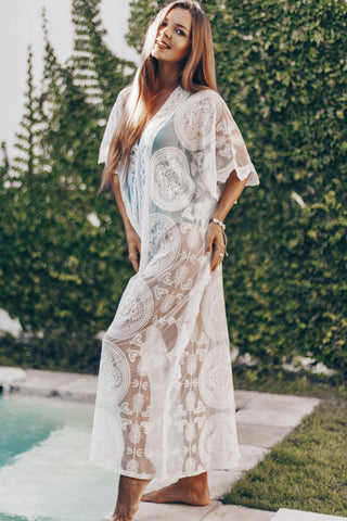 Pure Color Lace Panel V Neck Swimsuit Cover Up