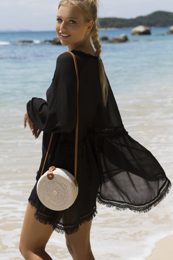 Long Sleeve Tie Front Swimwear Cover Up