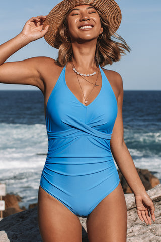 Twist Front Halter Neck One Piece Swimwear