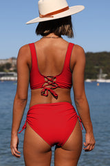 High Waisted Criss Cross Drawstring Side Bikini Set